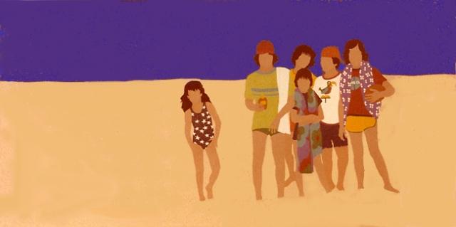 Gail Bruce, Beach Kids, serigraph